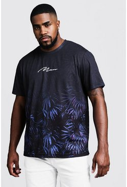 Herr Black Big & Tall Faded Floral Print MAN T-Shirt