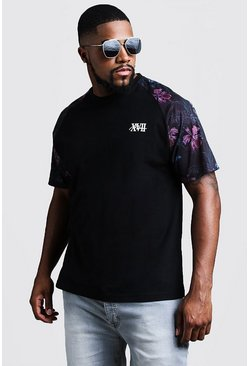 Mens Black Big & Tall Raglan Floral Print MAN T-Shirt