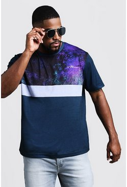 Mens Black Big & Tall Printed T-Shirt With Panel Detail