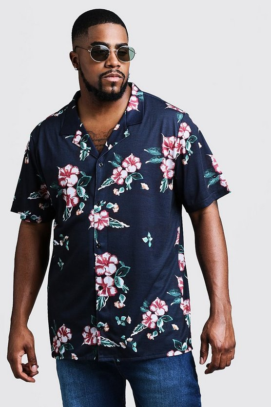 Mens Navy Big & Tall Floral Print Revere Jersey Shirt