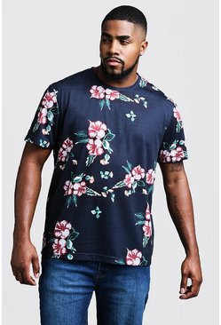 Big & Tall T-Shirt mit Blumenmuster, Marineblau, Herren