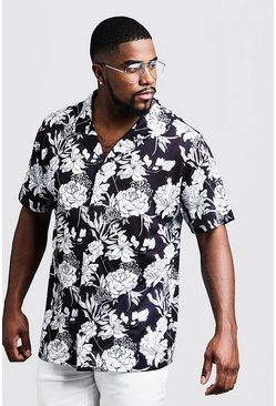 Mens Black Big & Tall Mono Floral Revere Jersey Shirt