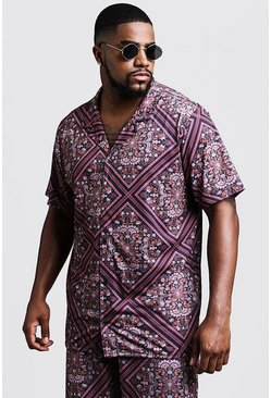 Mens Black Big & Tall Tile Print Revere Jersey Shirt