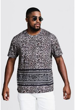 Mens Brown Big & Tall Animal Print T-Shirt