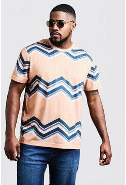 Mens Yellow Big & Tall Chevron Print T-Shirt