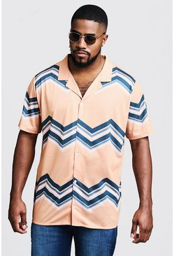 Mens Yellow Big & Tall Chevron Print Revere Jersey Shirt