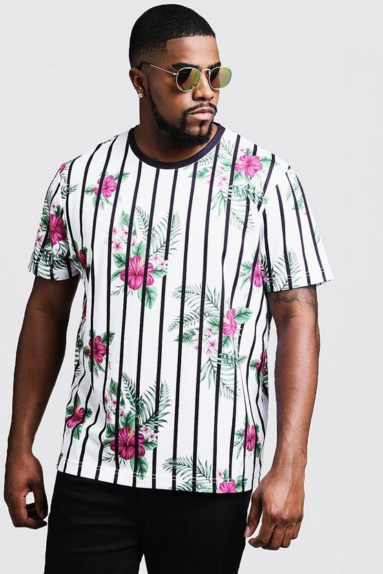Mens White Big & Tall Floral Stripe Print T-Shirt