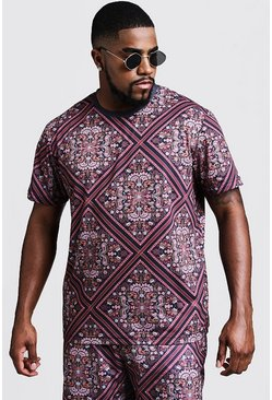 Mens Black Big & Tall Tile Print T-Shirt