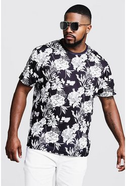 Mens Black Big & Tall Mono Floral Print T-Shirt