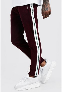 Velour Taped MAN Skinny Fit Jogger, Wine, Uomo