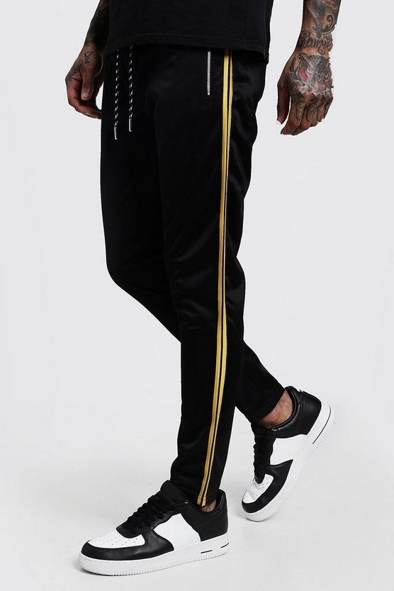 Mens Yellow Side Panel Tricot Joggers