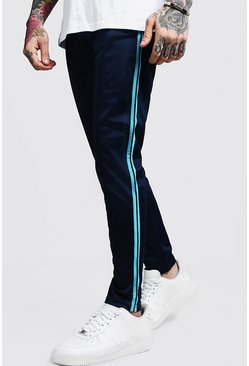 Mens Navy Side Panel Tricot Pin Tuck Joggers