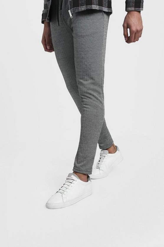 Mens Grey Herringbone Jacquard Smart Skinny Jogger