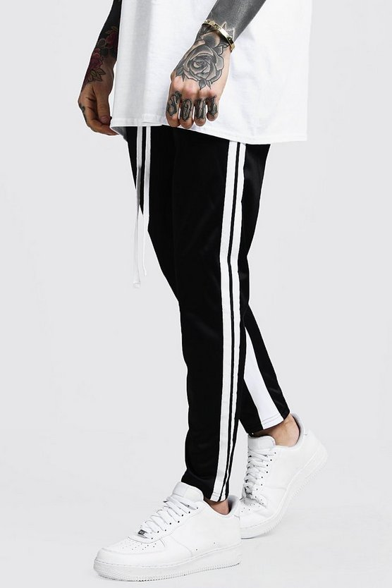 Mens Black Colour Block Taped Skinny Fit Joggers