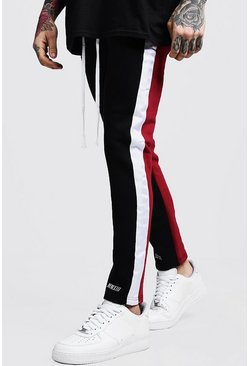 Colour Block MAN Branded Joggers, Black, Uomo