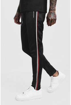 Mens Black Side Panel Detail Tricot Skinny Joggers