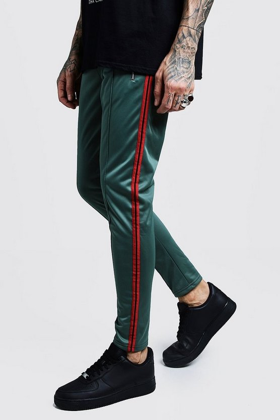 Mens Green Side Panel Detail Tricot Joggers