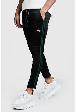 Mens Black Side Tape Smart Tricot MAN Joggers