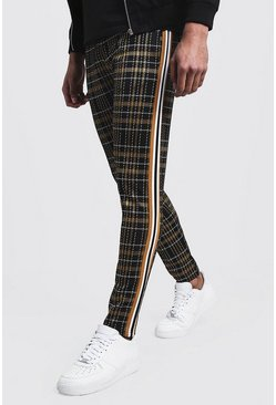 Mens Mustard Jacquard Tape Detail Smart Jogger