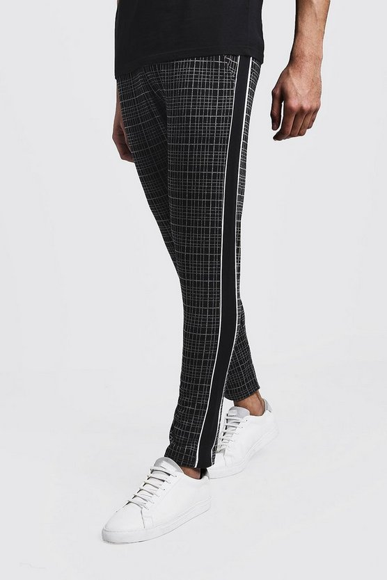 Mens Black Windowpane Check Jacquard Jogger With Side Panel