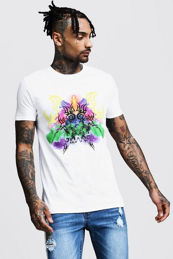 Mens White Regular Tribal Print Jersey T-Shirt