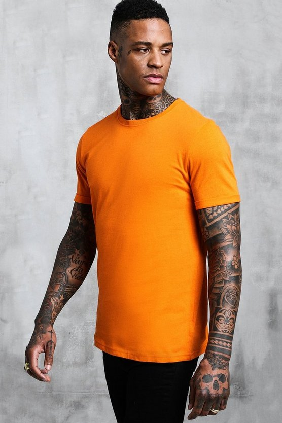 Mens Orange Crew Neck T-Shirt With Rolled Sleeves