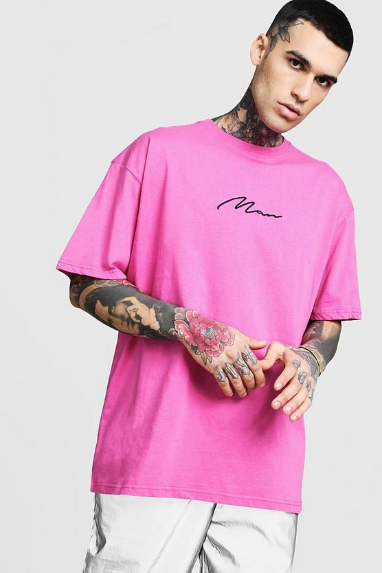 Mens Bright pink Oversized Man Signature Embroidered T-Shirt