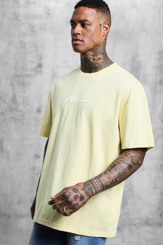 Mens Lemon Oversized Man Signature Embroidered T-Shirt