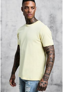 Man Signature Embroidered T-Shirt, Lemon, Uomo