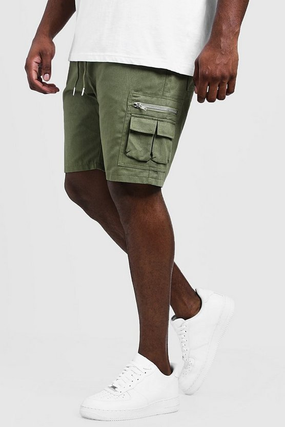 Khaki Big & Tall Utility Shorts With Elasticated Waist Band
