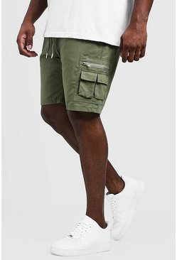 Herr Khaki Big & Tall Utility Shorts With Elasticated Waist Band