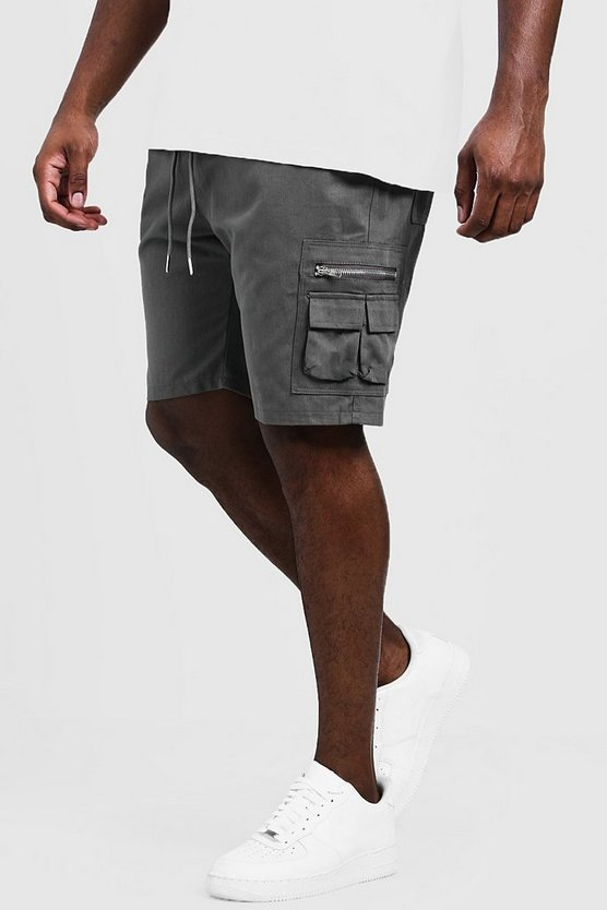 Mens Slate Big & Tall Utility Shorts With Elasticated Waist Band
