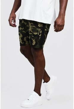 Mens Khaki Big & Tall Camo Shorts With Side Tape
