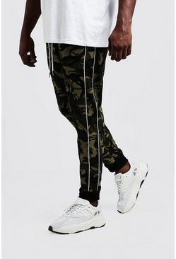 Mens Khaki Big & Tall Camo Trouser With Piping