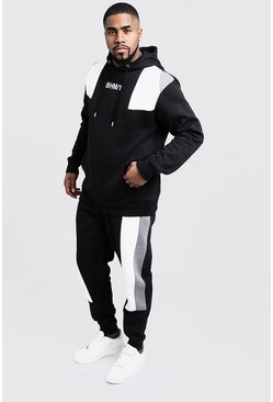 Mens Black Big & Tall Colour Block Tracksuit
