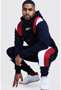 Mens Navy Big & Tall Colour Block Tracksuit