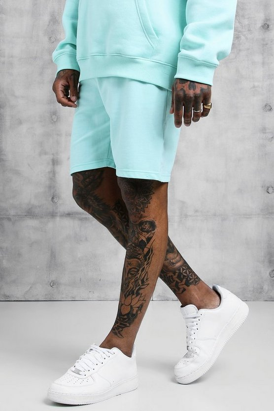 Mens Aqua Jersey Mid Length Shorts