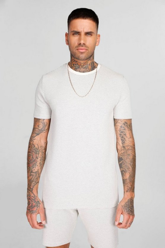 Mens Pale blue Loose Fit 3/4 Sleeve T-Shirt