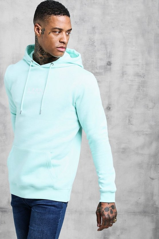 Mens Aqua Original Man Print Over The Head Hoodie