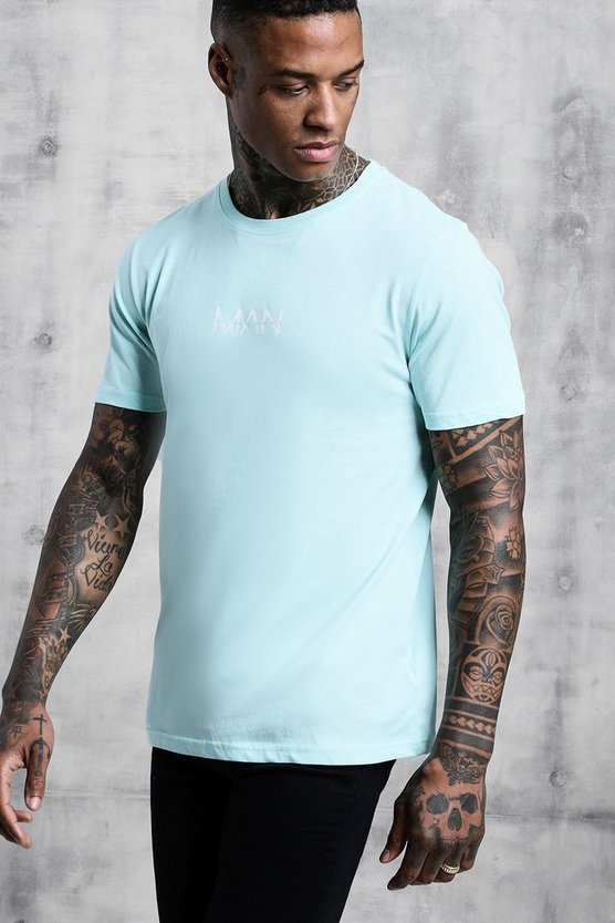 Mens Aqua Original Man Logo Print T-Shirt