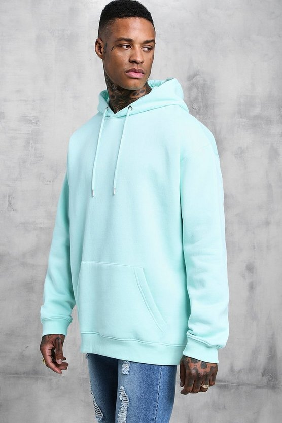 Mens Aqua Fleece Oversized Over The Head Hoodie