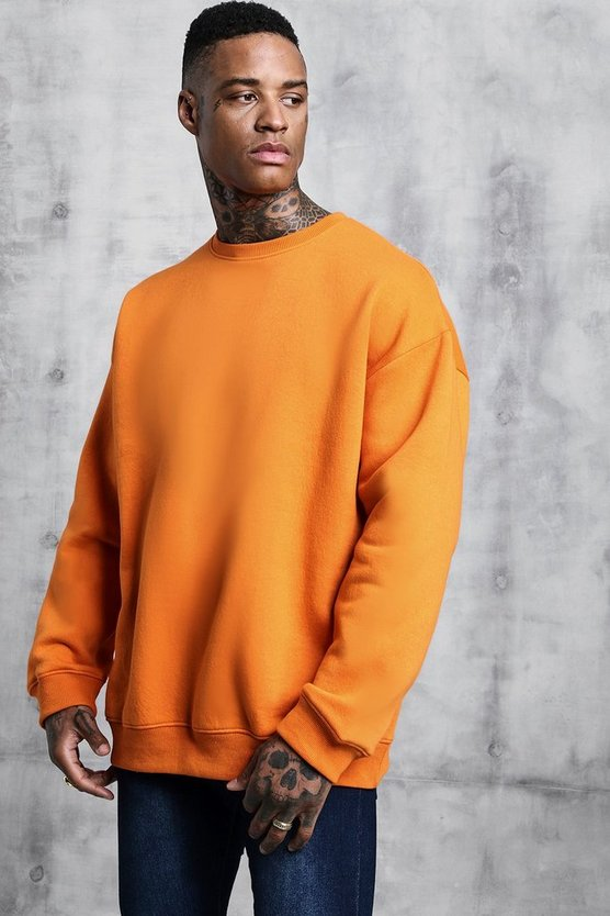 Mens Orange Fleece Oversized Sweatshirt