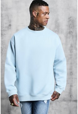 Mens Pale blue Fleece Oversized Sweatshirt