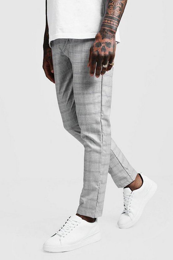 Mens Grey Prince Of Wales Check Smart Jogger