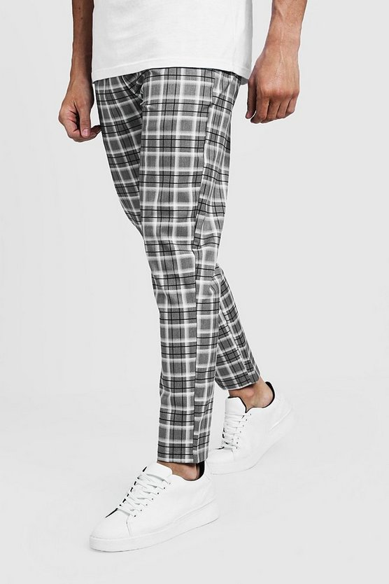 Grey Check Smart Jogger Trouser