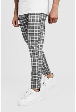 Mens Grey Check Smart Jogger Trouser