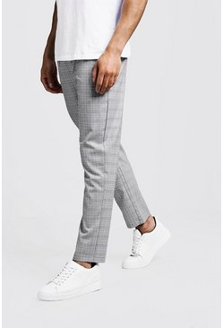 Mens Grey Prince Of Wales Check Smart Jogger Trouser