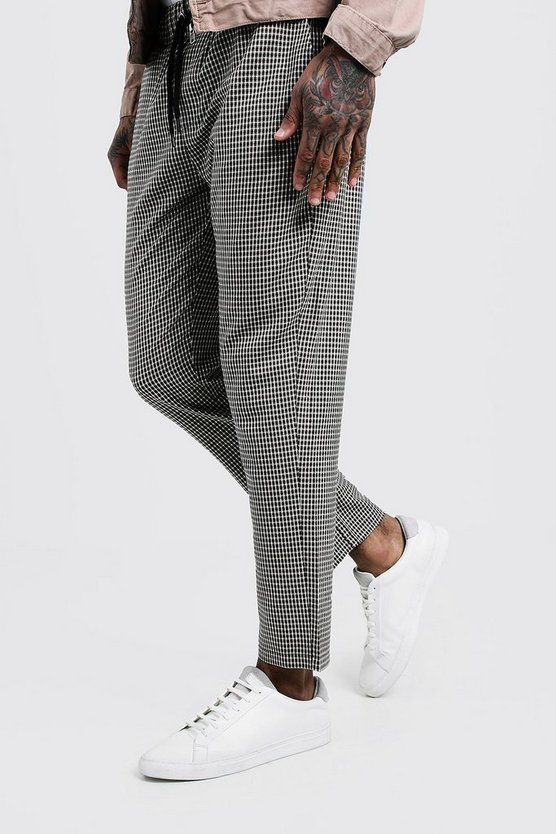 Grey Mini Check Smart Jogger Pants