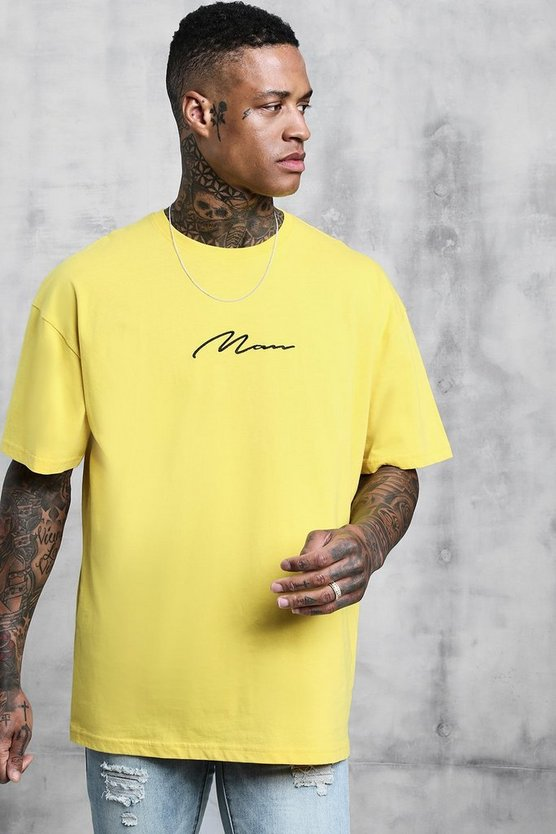 Mens Bright yellow Oversized Man Signature Embroidered T-Shirt