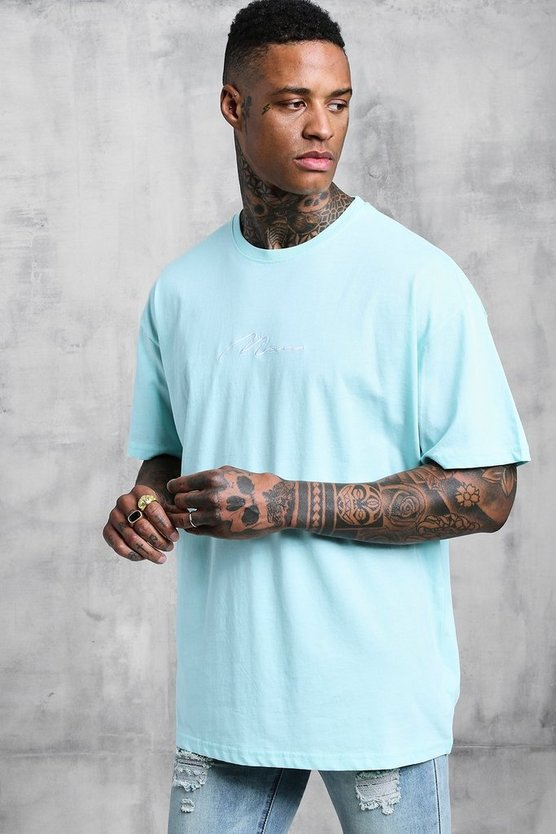 Aqua Oversized Man Signature Embroidered T-Shirt